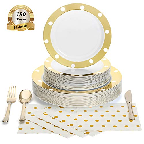 180 Pcs Serves 30, Gold Party Supplies Set   Reusable   Enough For Multiple Small Parties   Polka Dot Disposable Plastic Dinnerware   Includes Dinner Plates, Dessert Plates, Cutlery & 3-Ply Napkins (Dinnerware Christmas Fiesta)