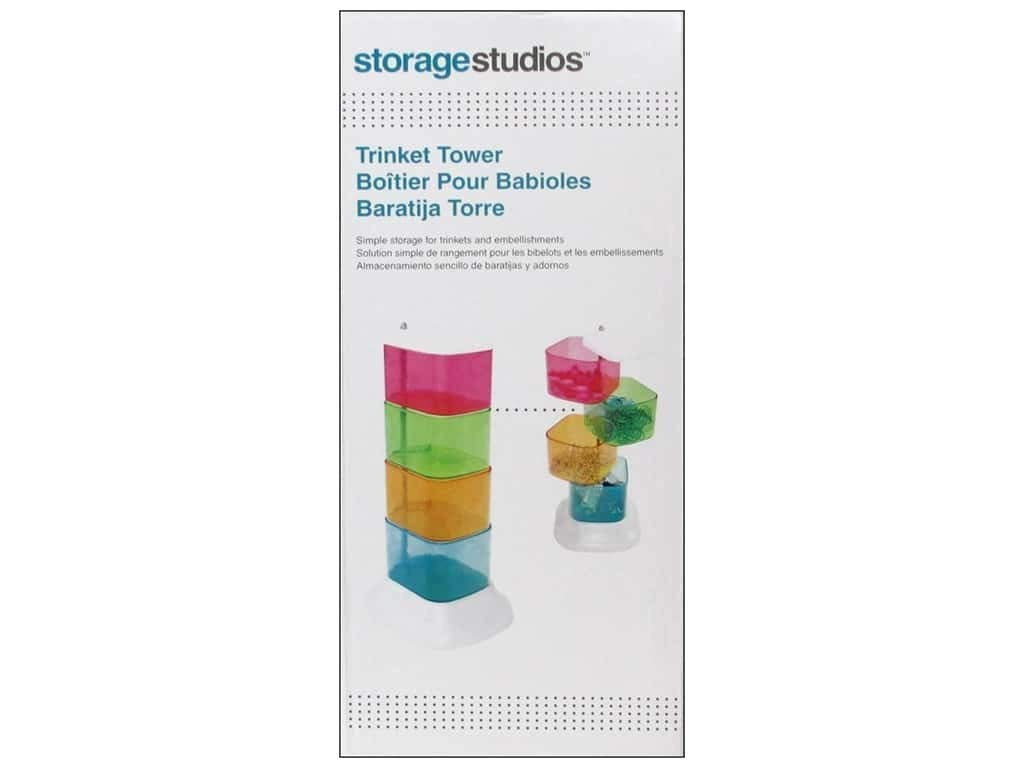 4 Swivel Containers 10.25 x 2.75 x 3.75 Inches Storage Studios Trinket Tower CH93395 Multicolored