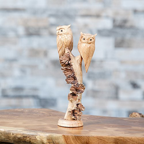 Parasite Wood - Garden Age Supply Hand Carved 2 Owls Carvings Wood Parasite Statue ornament