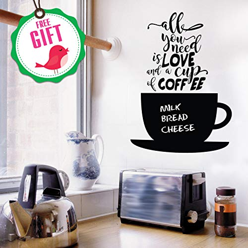 Chalkboard Coffee Wall Decals Quotes for Kitchen - Perfect Blackboard Coffee Lovers Gift Stickers - Best Fridge Cup Vinyl Art with Bonus! (Chalkboard For Decal Kitchen)