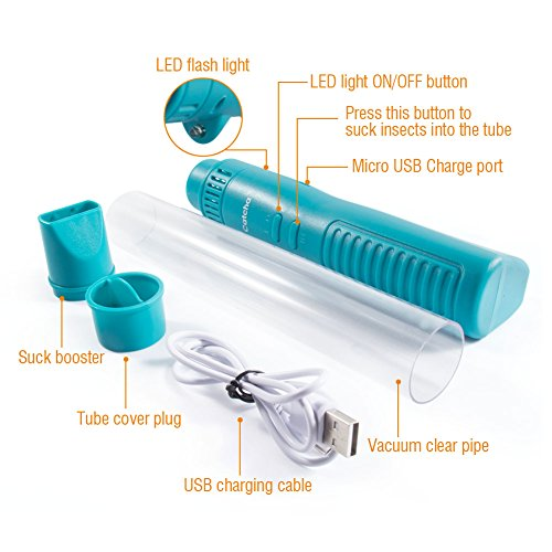 Catcha Vacuum Bug Catcher Live Catch Spider Insect Crawler Humane Pest Control USB Rechargeable