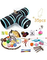 WERTYCITY Cat Toys Variety Pack, Including 3 Way Tunnel with Ball, Teaser Wand, Interactive Feather Toy, Fluffy Mouse, Crinkle Balls, Catnip Fish for Kitty, Puppy, Rabbit. Multicolor (25pcs)