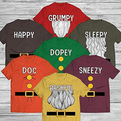 Doc Happy Sleepy Dopey Grumpy Bashful Sneezy Seven Dwarf Halloween Family Matching Costume Team Group Impressive Handmade T-Shirt/Hoodie/Long Sleeve/Tank Top/Premium -