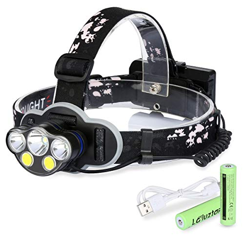 Laluztop Rechargeable LED Headlamp Flashlight, Brightest Waterproof Headlight with White & Warm White and Red Lights, 8 Lighting Modes Head Lamp for Camping Running Hiking Reading Fishing by Laluztop