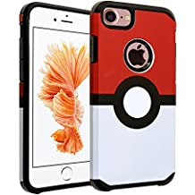 iPhone 7 Case, DURARMOR Pokemon Go Case Poke Ball Style Pokemon Hybrid Bumper ShockProof Slim Fit Armor Air Cushion Defender Drop Protection Cover Case for iPhone 7 4.7 inch, Poke Ball