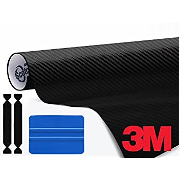 3M 1080 Black Carbon Fiber 1ft x 5ft Vinyl Car Wrap Tool Kit