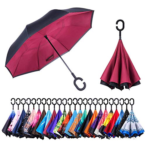 Folded Umbrella - Newsight Reverse/Inverted Double-Layer Waterproof Straight Umbrella, Self-Standing & C-Shape Handle & Carrying Bag for Free Hands, Inside-Out Folding for Car Use (Red of Wine)