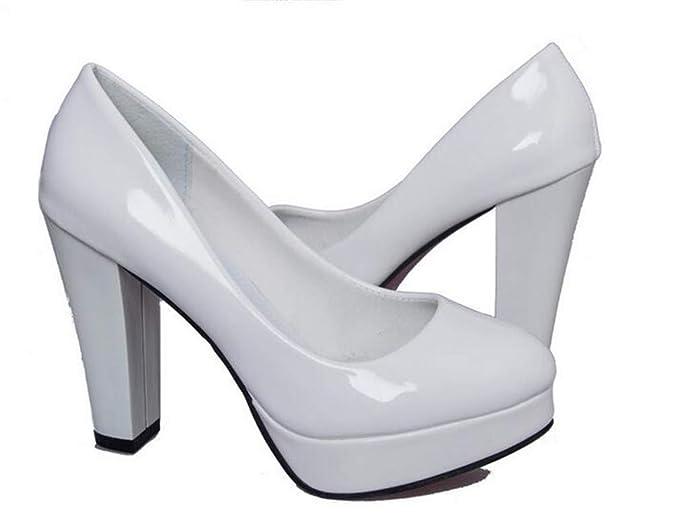 b9714e7dce333 Amazon.com: Women Pumps Shoes Women PU Leather Shallow Slip-On Round ...