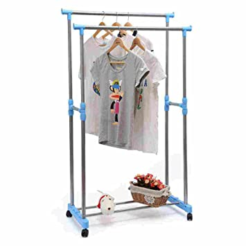 AOJIA Barra para colgar ropa Barras Para Colgar la Ropa, Con Ruedas Perchero de Ropa (con ruedas, altura ajustable entre 92 y 155 cm): Amazon.es: Hogar