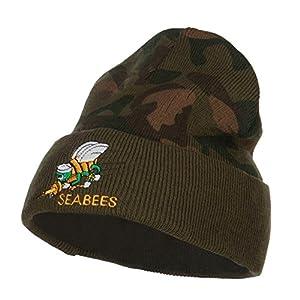 e4Hats.com Navy Seabees Symbol Embroidered Camo Long Beanie