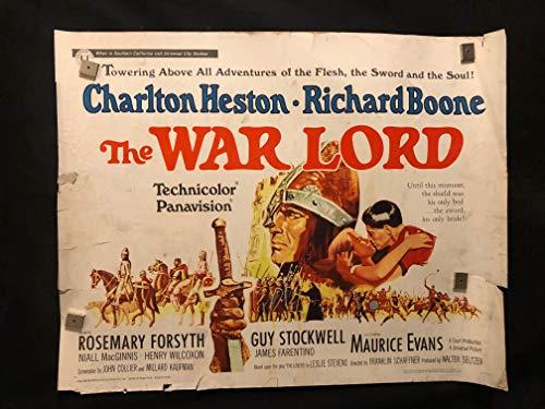 The War Lord 1965 Original Vintage Half Sheet Movie Poster, Charlton Heston, Richard Boone, War, Soldier
