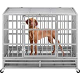 ITORI 42″ Silver Heavy Duty Metal Dog Cage Kennel Crate and Playpen for Training Large Dog and Pet Indoor and Outdoor with Double Doors & Locks Design Included Lockable Wheels and Removable Tray For Sale