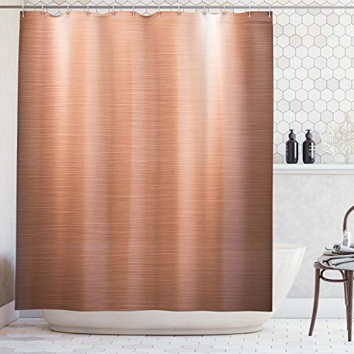 Ambesonne Abstract Shower Curtain, Indusrial Plate Facade Illustration Tough Construction Element Modern, Fabric Bathroom Decor Set with Hooks, 75 Inches Long, Coral Chocolate