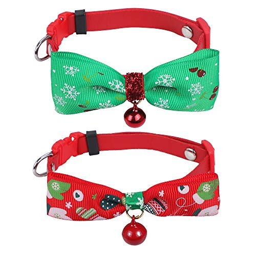 KissDate Christmas Pet Collars Bow Tie & Bell Pack of 2