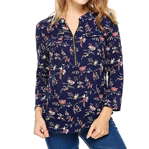 Zip Maniche Dritto Neck Blouse Blu Chiffon Donna Camicia Coreana Lunga Top Colletto Arrotolabili Manica Casuale A Up Da V zqHYwBZ