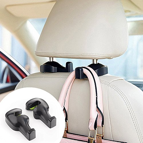 Price comparison product image MyTidyCar Car Headrest Hanger Hook - Universal Car Hanger Hook For Grocery Bag Purse (Black) - Set of 2