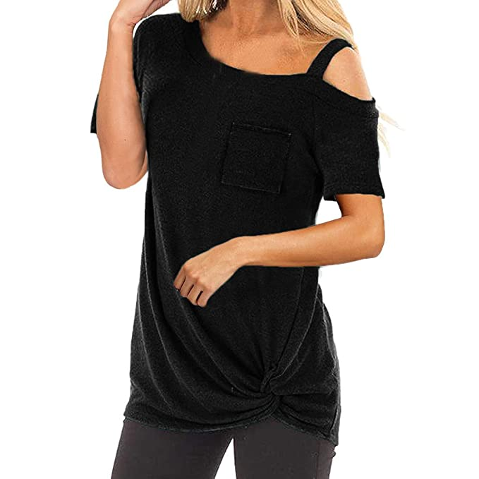 Sunhusing Womens Off-Shoulder Sling Short Sleeve Solid Color T-Shirt Pocket Hem Twist Knotted Top at Amazon Womens Clothing store: