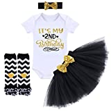 It's My 1/2 / 1st / 2nd Birthday Outfit Baby Girls Romper + Ruffle Tulle Skirt + Sequins Bow Headband + Leg Warmers Socks Party Dress up Costume 4Pcs Photo Cake Smash Clothe Set Black 2 Years