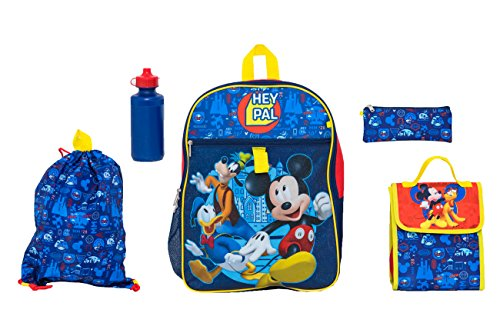 Disney Boys' Mickey Mouse 5 Pc Set Backpack, Blue, One Size (Mickey Mouse Head Lunch Box With Thermos)