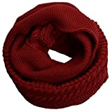 NEOSAN Womens Thick Ribbed Knit Winter Infinity Circle Loop Scarf Crochet Claret