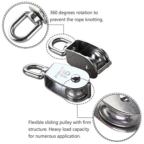 HUICAO 2Pcs M15 Silver Single Pulley Block 304 Stainless Steel Single Wheel Wirerope Traction Trolley Crane Swivel Hook Pulley Roller Loading 35kg