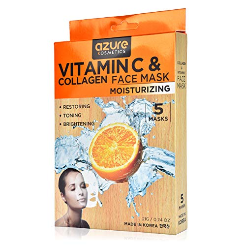 Collagen and Vitamin C Moisturizing Face Mask by Azure - Reduces Signs of Aging | Improve Skin's Elasticity | Hydrates Your Skin| - 5 Pack