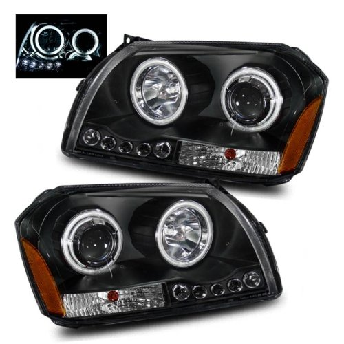 SPPC Projector Headlights Black Assembly for Dodge Magnum (2.7L/3.5L Eng)- (Pair) Includes Driver Left and Passenger Right Side Replacement Headlamp