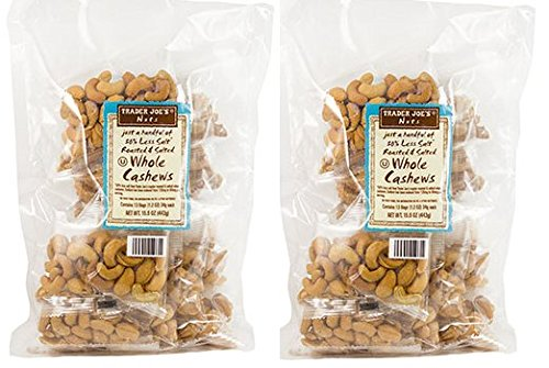2 Trader Joe's Just a Handful of 50% Less Salt Roasted & Salted Whole Cashews 13 small packs/bag