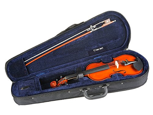 ADM 1/4 Size Handcrafted Solid Wood Student Violin with Starter Kits, Red Brown lacquer finish by All Days Music