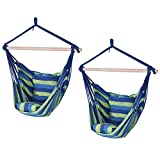 Globe House Products GHP 2-Pcs 260-Lbs Capacity Blue & Green Cotton Fabric & Wood Strap Hammock Swing Chairs