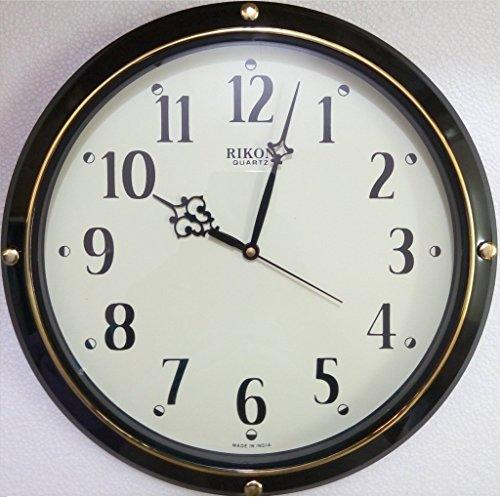 Rikon Quartz Plastic Round Shape 27.5 cm X 27.5 cm Fancy Premium Wall Clock R-9451(Black)