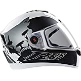 Steelbird Air Beast Full Face Helmet with Plain Visor (Matt White and Grey, L)