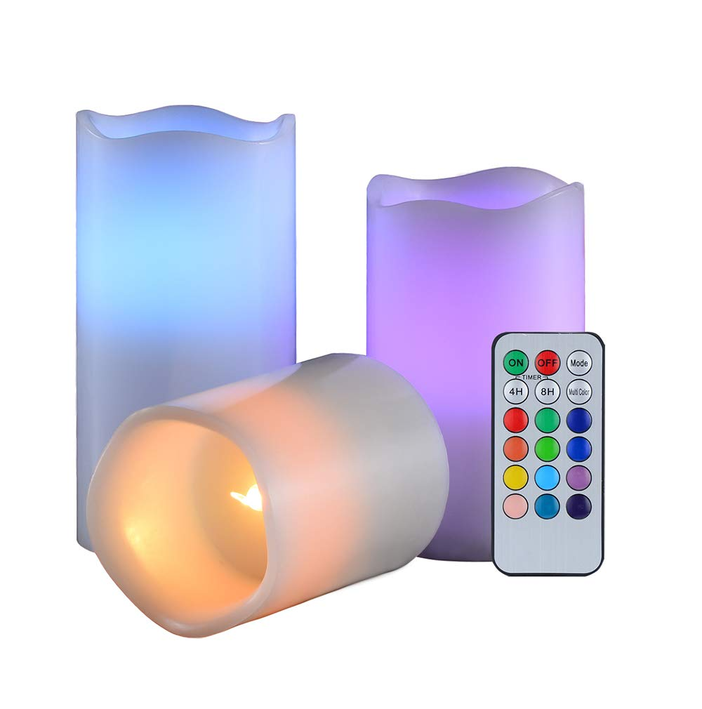Candle Set 3pc with Remote Timer Realistic Flameless Home and Kitchen Decor led Electric Real Wax Candles Tealight Pack Battery Operated 3'' 4'' 5'' 12 Colours Changing Make Romace Flikering Night Light