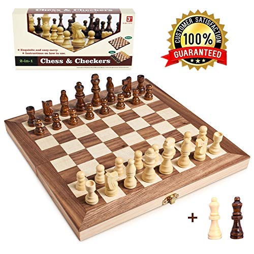 Wooden Chess Set for Kids and Adults, Folding Chess Board Travel Chess and Checkers Set Game Board Interior for Storage - 2 Extra Queens ( 12