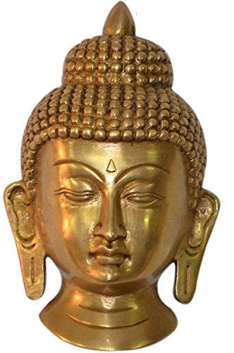 Cultural HubJ92-305GM-0095 Small Buddha Wall Hanging Mask - Brass Sculpture Height: 5.5 (Buddha Mask)