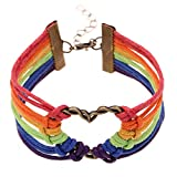ISHOW Rainbow Gay Pride Lesbian LGBT Heart Love Wax Cord Braided Bracelet for Men and Women, 7.5""