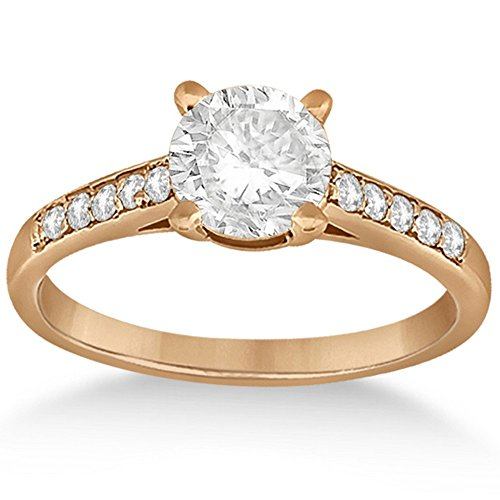 Semi Mount Engagment Ring (Cathedral Pave Diamond Engagement Ring Setting 18k Rose Gold (0.20ct))