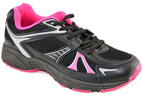 Ladies Womens Gym Running Jogger Sports Athletics Lace Up Trainers Shoe Size 3-9- Black Pa2a0y