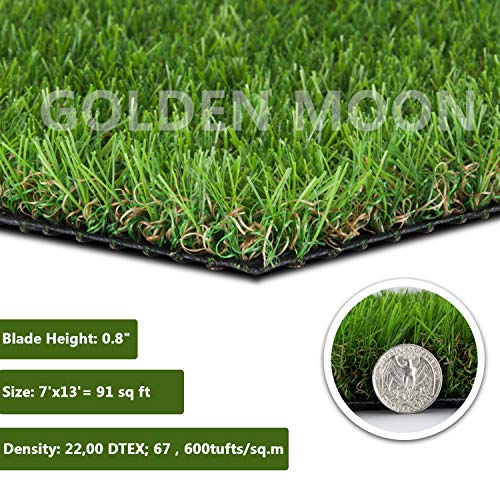 - GOLDEN MOON Realistic Artificial Grass Mat 5-Tone Mowed-Lawn Touch Outdoor Turf Rug 0.8in(20mm) Blade Height Series Green 7'x 13'(91sq ft)
