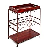 """Old Dutch """"Avalon"""" Wine and Serving Cart, Antique Copper/Rosewood, 28"""" x 16"""" x 32"""""""