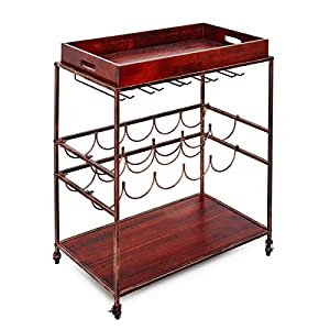 Old Dutch 612BP Avalon Wine and Serving Cart, 28″ x 16″ x 32″, Antique Pewter and Gray
