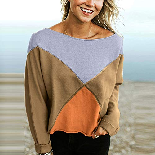 Fashion Blouse Strapless Sleeve Pullover T Rawdah Shirt Long Sweatshirt Women Khaki Patchwork TZaw5f58xq