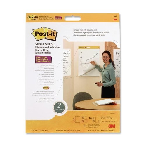 Wholesale CASE of 5 - 3M Post-it Self-Stick Wall Pad-Self-Stick Wall Pad,Plain Rld.,20 Sheets,20''x23'',2/PK,White by 3M