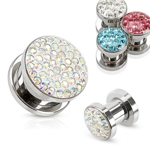 Pair of Aurora Borealis Crystal Ferido 316L Stainless Steel Screw Fit Plugs - 0G