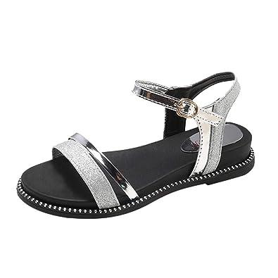 240a0cd8989f Fashion Women Sequins Flat Heel Anti Skidding Beach Shoes Sandals Slipper  Silver