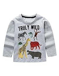 KIDSALON Little Boys' Cotton Crewneck Long Sleeve Cartoon T-Shirt