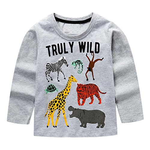 KIDSALON Little Boys' Cotton Crewneck Long Sleeve Cartoon T-Shirt (2T, Animals) -
