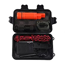 14 Pcs In 1 Multifunction Outdoor Camping Fishing First Aid Kits, Portable Emergency Survival Gear Kit with Flashlight Parachute Rope Fire Starter Whistle