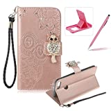 Strap Leather Case for Huawei Honor 9 Lite,Diamond Rose Gold Wallet Flip Case for Huawei Honor 9 Lite,Herzzer Stylish 3D Owl Magnetic Closure Cute Owl Printed Stand Shockproof Card Slots Folio PU Leather Back Case with Soft Silicone