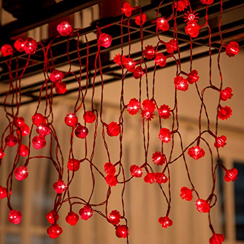 Boao 2 Styles 26.2 Feet/ 8 m 40 LED and 13 Feet/ 4 m 40 LED Red Decorative Lanterns String Lights for Wedding, Spring Festival, Party Decoration